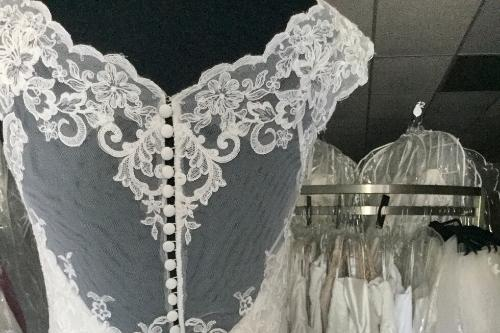 Peek a boo lace back   Budget Bridal Outlet